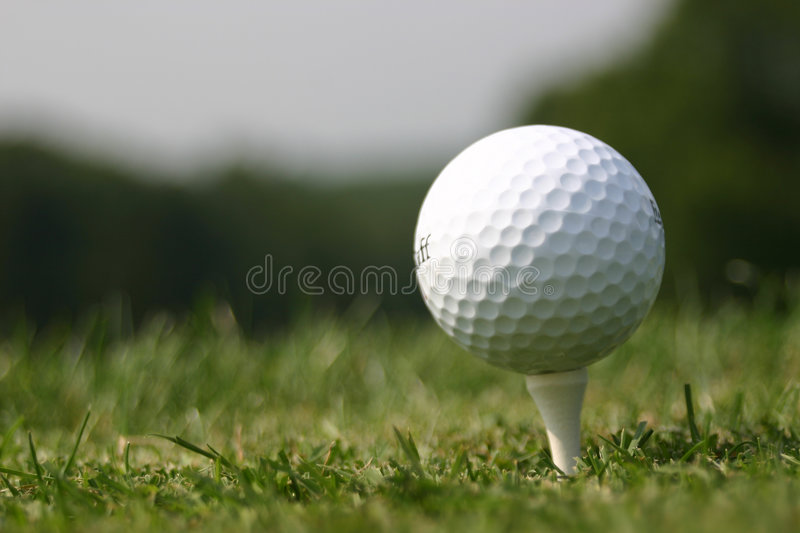 Golf Ball on Tee (real Golf course) stock photography