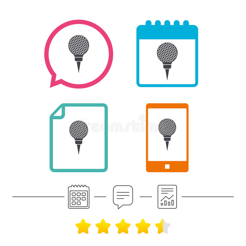 Golf ball on tee sign icon. Sport symbol. Calendar, chat speech bubble and report linear icons. Star vote ranking. Vector vector illustration