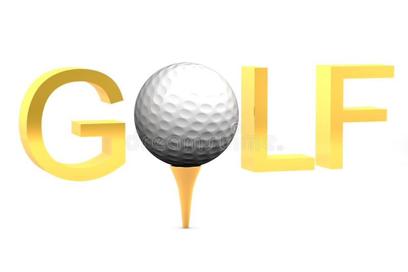 Golf ball text. Golf ball on gold tee on white background isolated with text saying golf royalty free illustration
