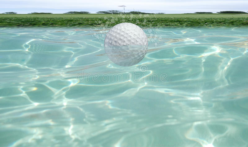 Golf ball underwater stock image