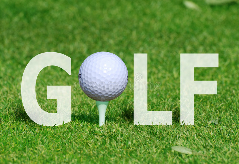 Golf ball in word stock image