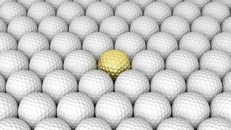 Golf balls. Abstract background with one gold in the middle royalty free illustration