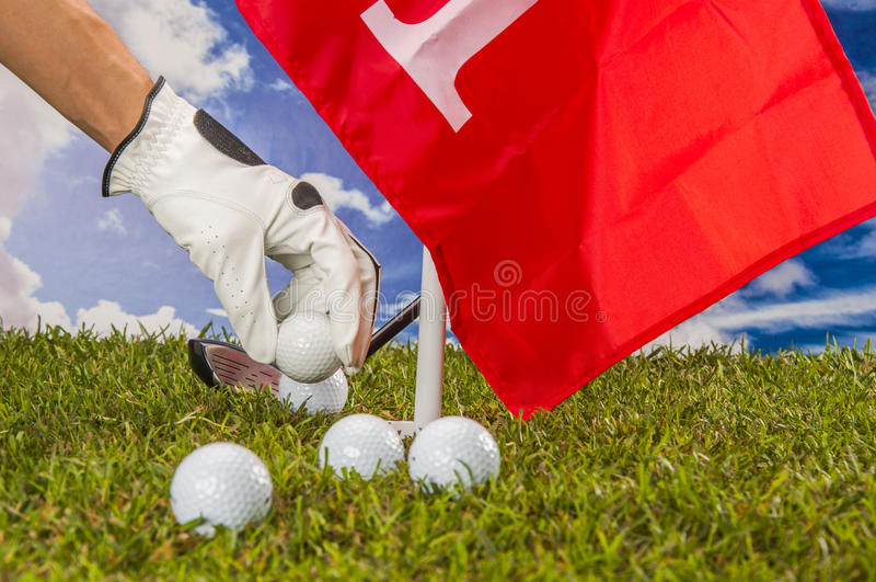Download Golf Balls, Green Grass, Clouds Background Stock Photo - Image: 34900766