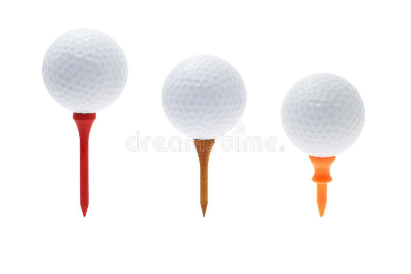 Golf balls on tees stock images