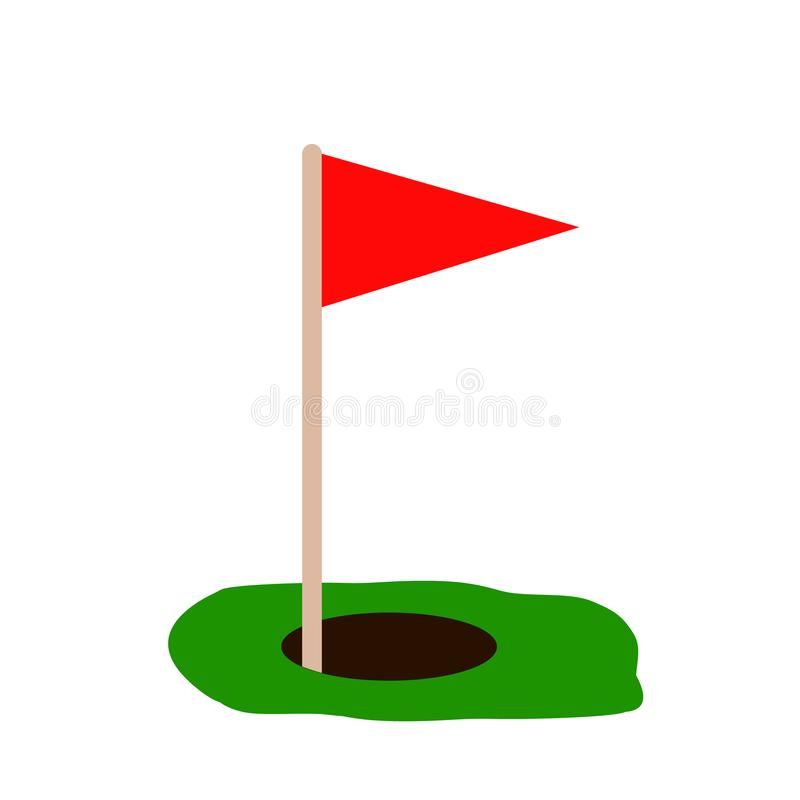 Golf a bandeira vermelha na grama verde e no furo Isolado no fundo branco Vetor liso Conceito do esporte Sinal da realização do o ilustração do vetor