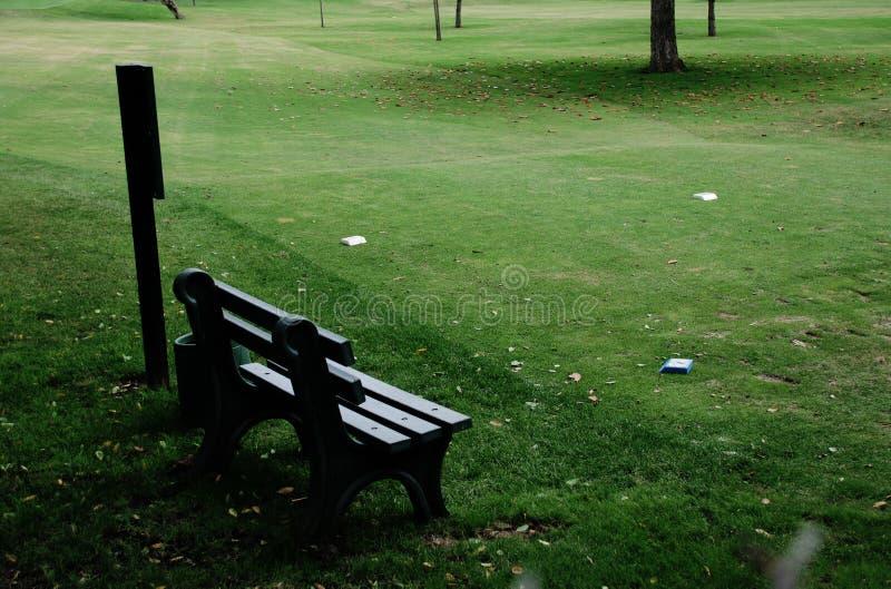 Golf-Bank und T-Stück stockbild