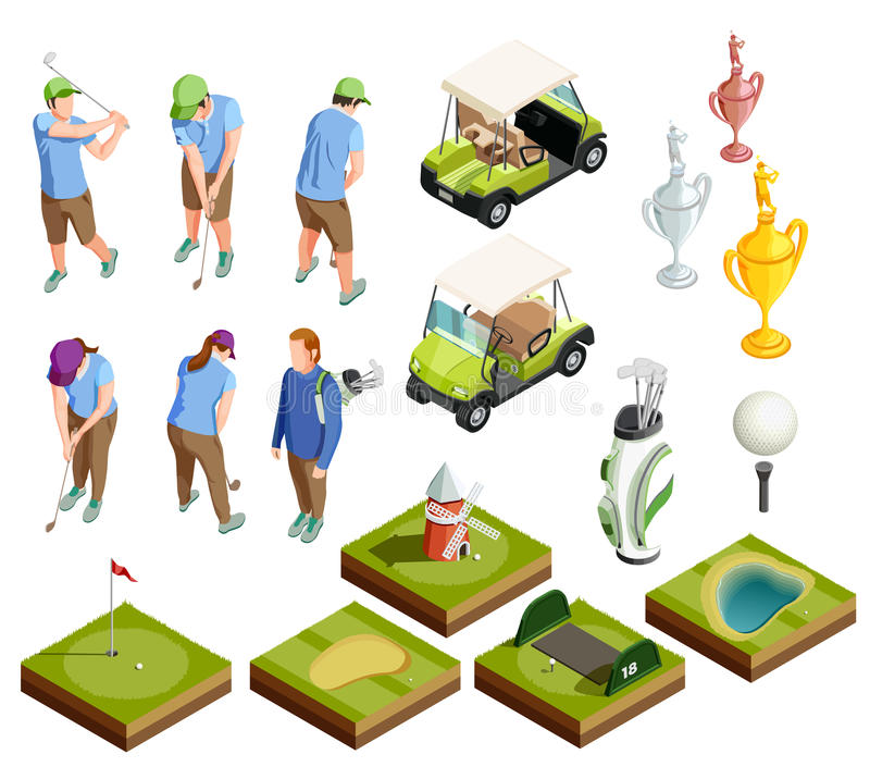 Golf Barwione Isometric Dekoracyjne ikony royalty ilustracja