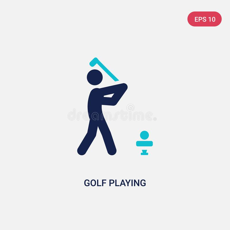 golf bicolor que juega el icono del vector de la actividad y del concepto de las aficiones el golf azul aislado que juega símbolo stock de ilustración