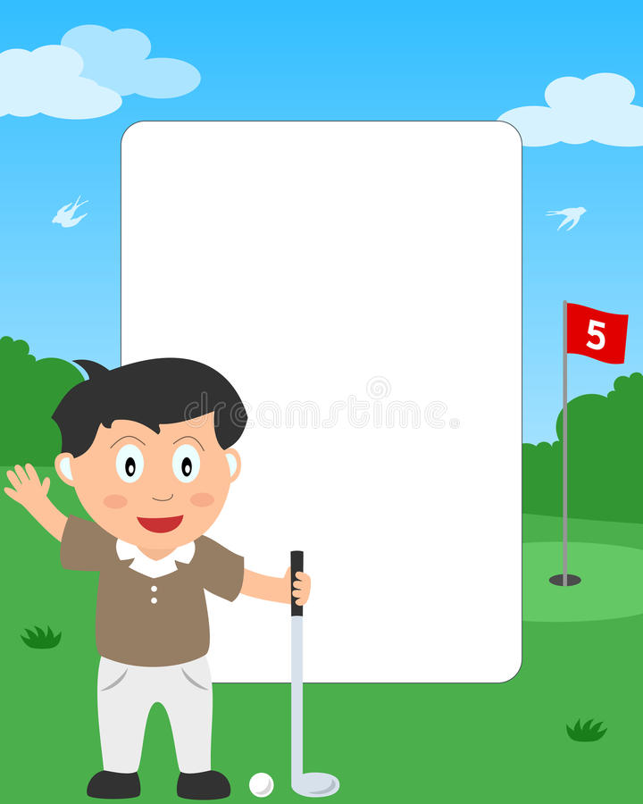 Golf Boy Photo Frame. Photo frame, invitation card or page for your scrapbook. Subject: a boy playing golf in a park. Eps file available stock illustration