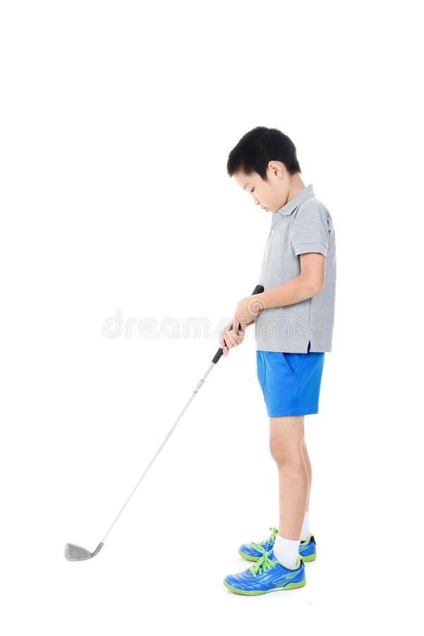 Golf boy. Young asian boy play golf on white background royalty free stock photos