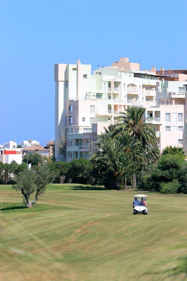 Golf buggy on fairway of Playa Serena Golf course stock photos