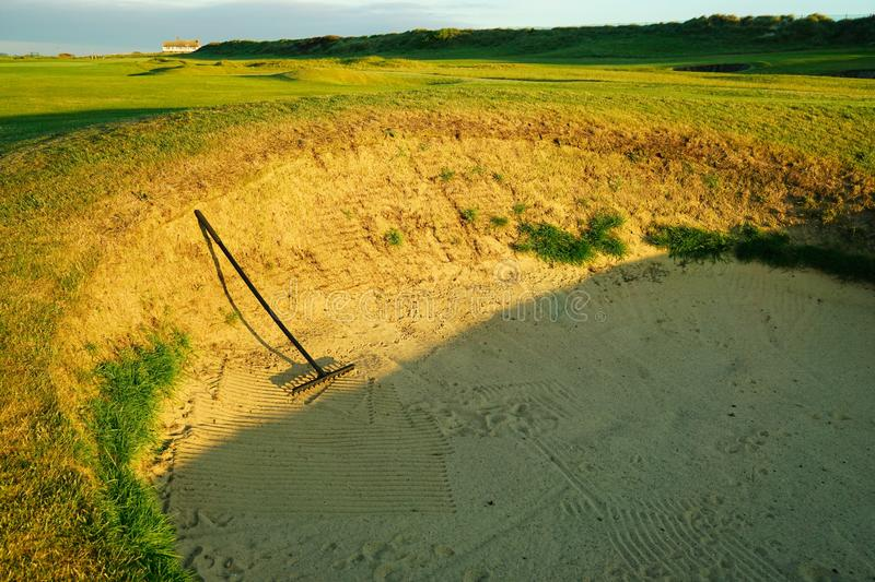 Golf course bunker. stock image
