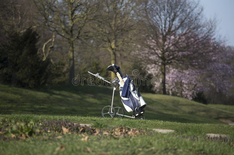 A golf caddy bag. A single golf caddy bag royalty free stock photography