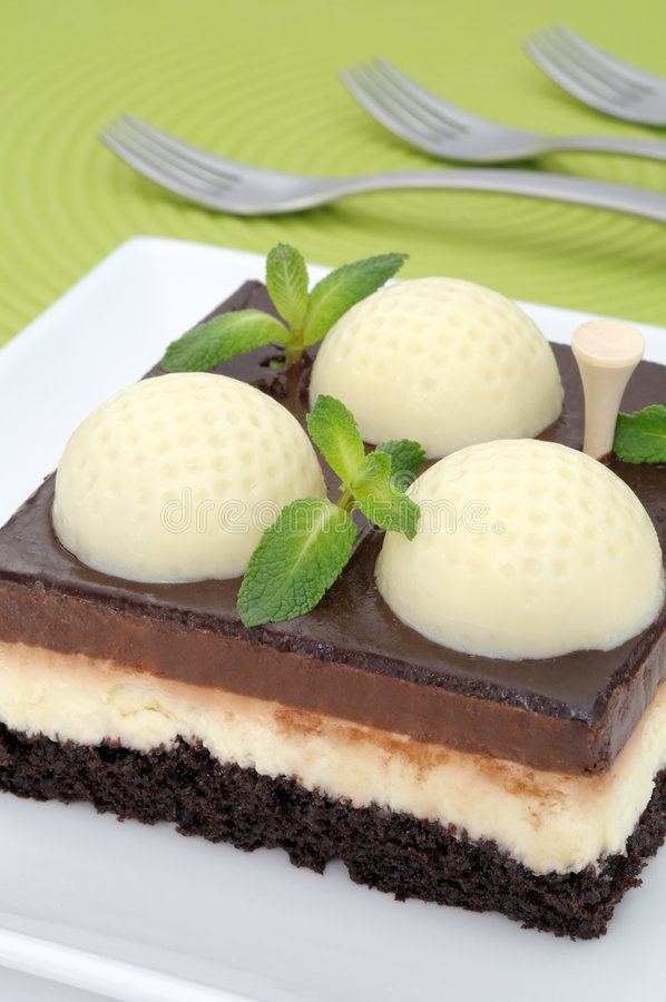Golf Cake With Mint Royalty Free Stock Image