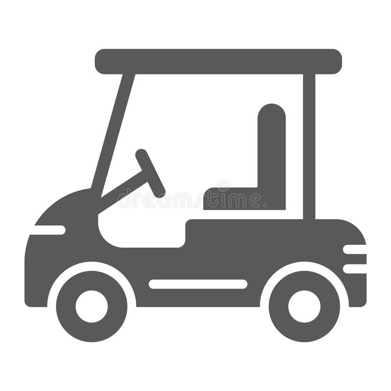 Golf car glyph icon, automobile and sport, cart sign, vector graphics, a solid pattern on a white background. vector illustration