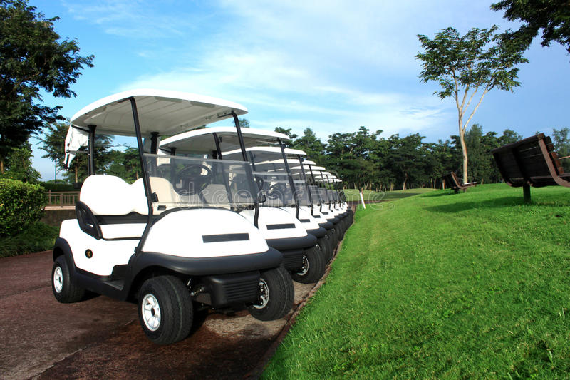 Golf Cars. Were lined up for an upcoming event at the exclsive Golf Club stock photo