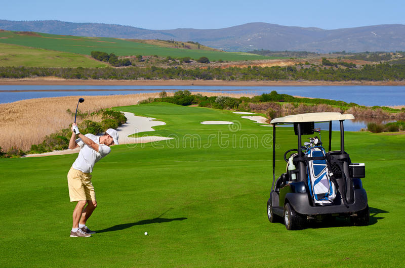 Golf cart man royalty free stock photos