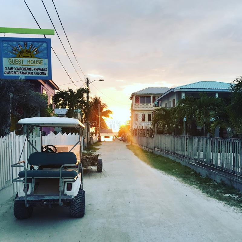 Golf cart in paradise stock images