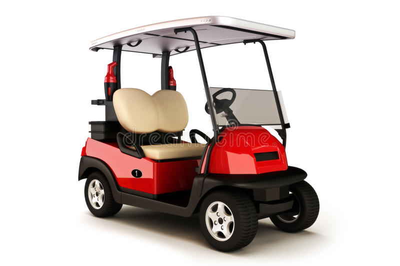 Golf cart on a white isolated background. Red colored golf cart on a white isolated background stock illustration