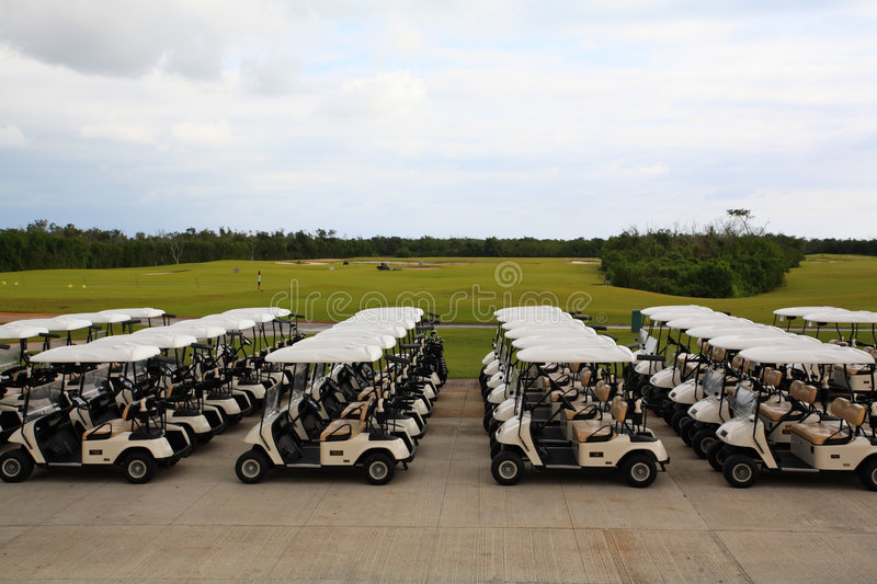 Golf carts in a Cancun resort stock image