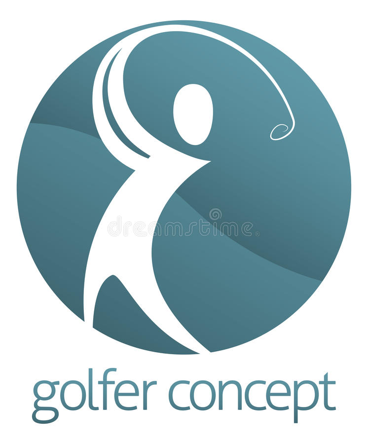 Golf Circle Abstarct. An abstract golfer figure swinging his golf club circle concept design vector illustration