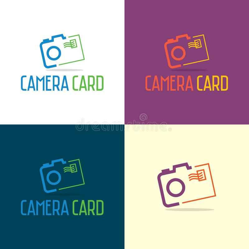 Camera Card and letter Logo and Icon. Vector Illustration. stock images