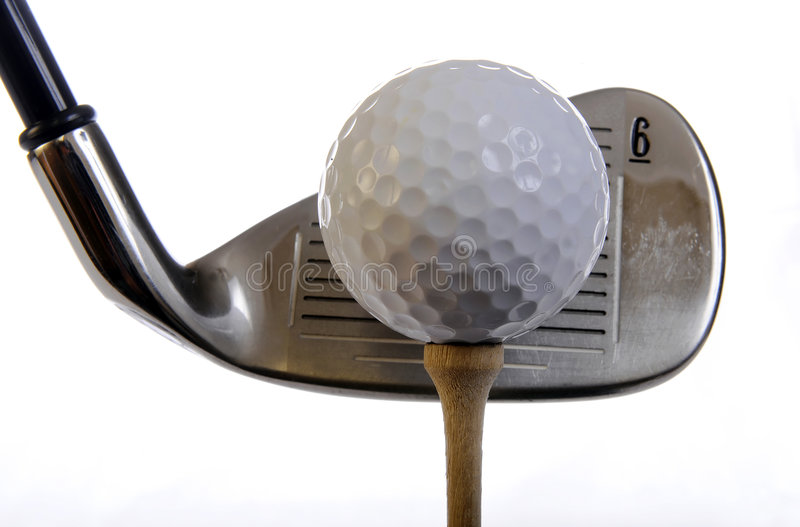 Golf club and ball stock photos