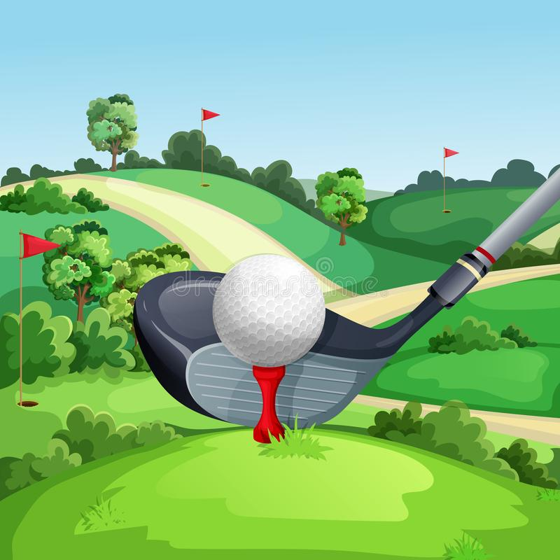 Golf club and ball on green golf course, vector illustration. Summer landscape cartoon background vector illustration