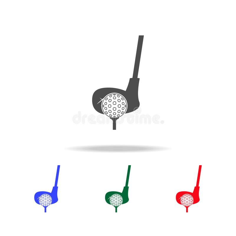 Golf club and ball icons. Elements of sport element in multi colored icons. Premium quality graphic design icon. Simple icon for. Websites, web design, mobile royalty free illustration