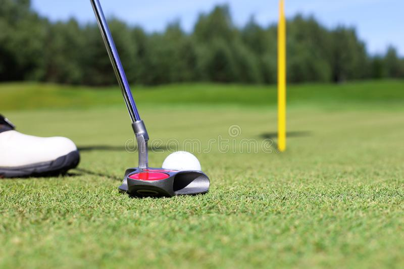 Golf club and ball. Preparing to shot royalty free stock photos
