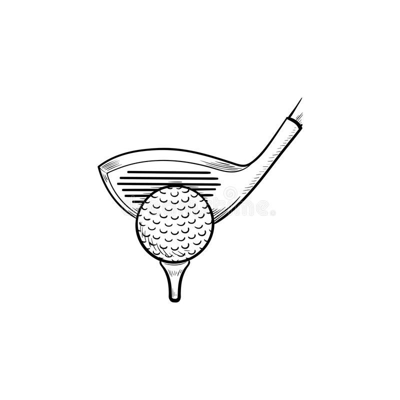Golf club and ball on tee hand drawn outline doodle icon. royalty free illustration