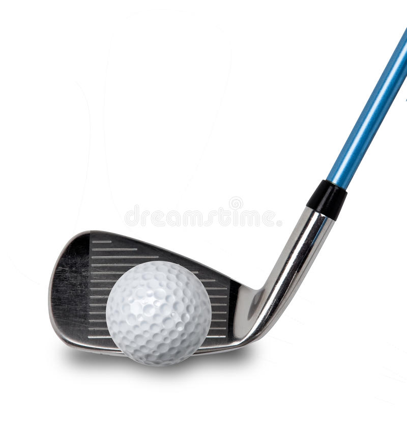 Golf club and ball on white stock image