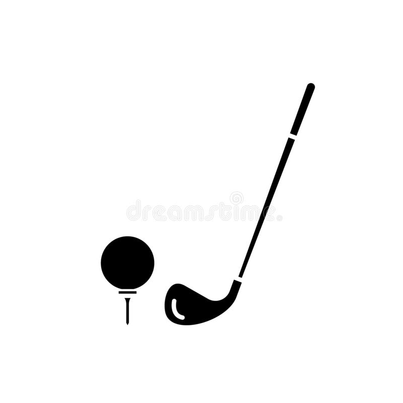 Golf club black icon, vector sign on isolated background. Golf club concept symbol, illustration stock illustration