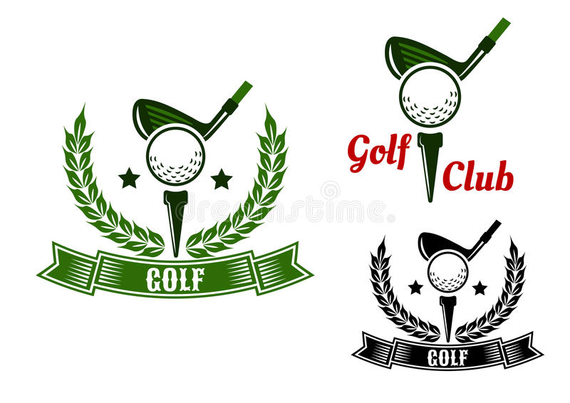 Golf club emblems with first stroke from tee. Golf club emblems or logo design with golf clubs ready to hit balls from tees adorned stars, laurel wreaths and royalty free illustration
