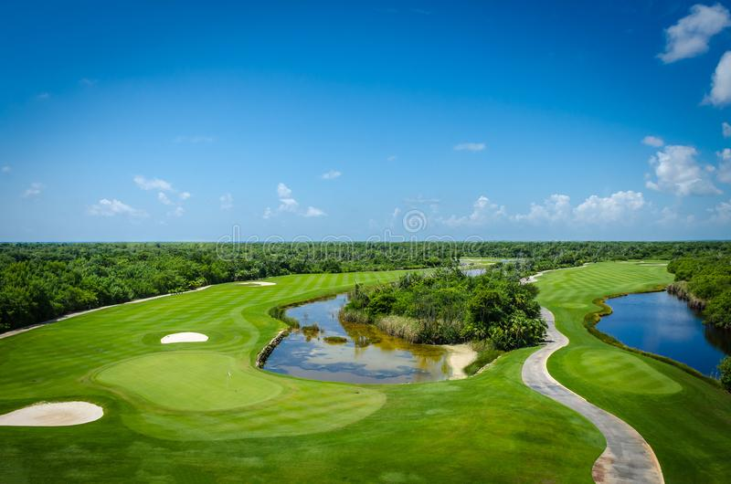 Golf course located in the mexican caribbean. Golf club facilities of a luxury resort in the caribbean royalty free stock images