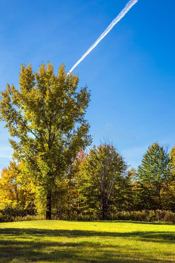 Golf Club in French Canada. Golf Course surrounded by beautiful autumn park. Concept of Golf tourism royalty free stock images