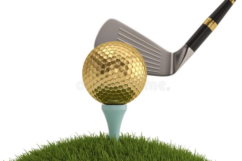 Golf club with golf ball on tee isolated on white background. 3D illustration. stock illustration