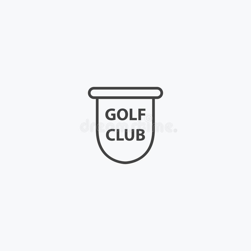 Black line golf club emblem icon vector. vector illustration