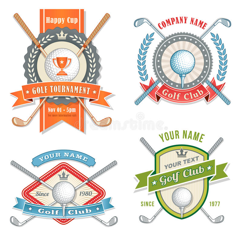 Golf Club Logos. 4 Colorful Logos and Placards for Golf Club Organizations or Tournament Events. Vector file is organized with layers for ease of editing