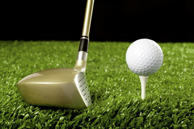 Golf club New with ball on tee 1 stock photos