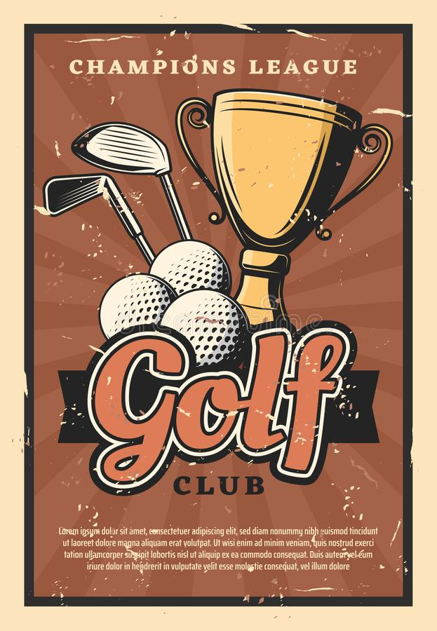 Golf game sport club, vector balls and sticks. Golf club retro poster, sport game. Balls and sticks with gold trophy cup as prize on grunge, sporting competition vector illustration