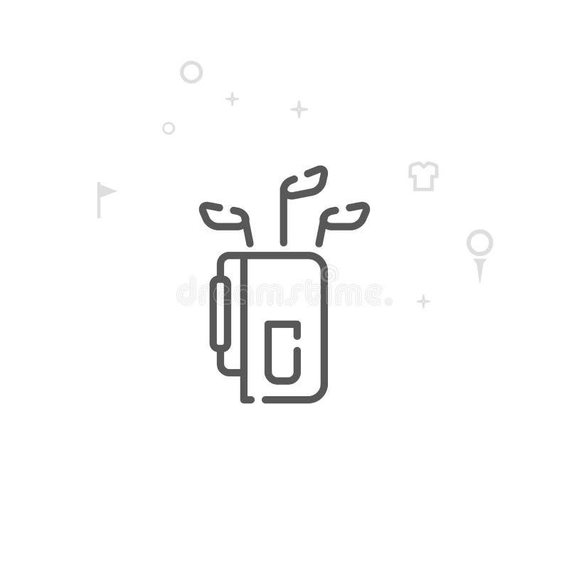 Golf Club-Taschen-Vektor-Linie Ikone, Symbol, Piktogramm, Zeichen Heller abstrakter geometrischer Hintergrund Editable Anschlag vektor abbildung