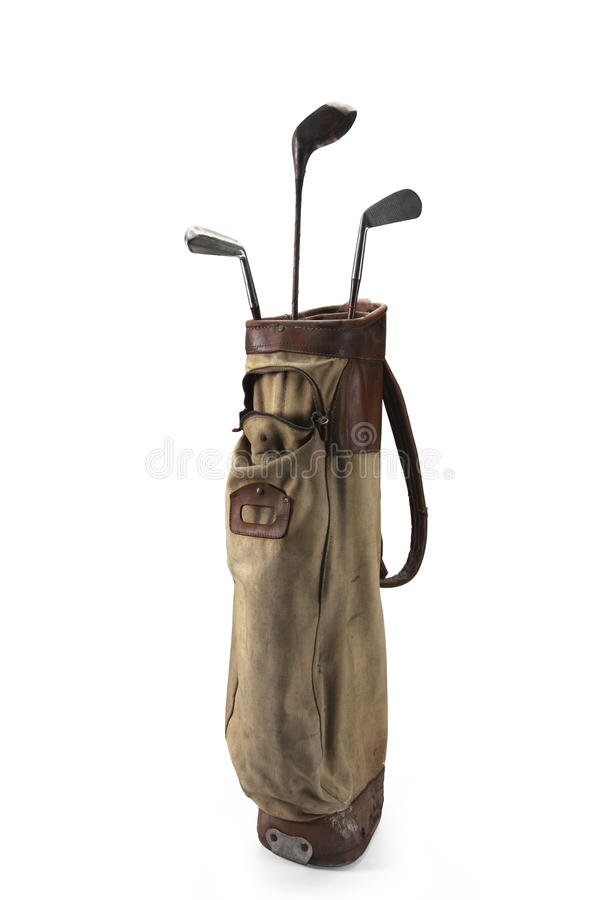 Golf Clubs Bag. Old bag of golf clubs isolated on white background royalty free stock images