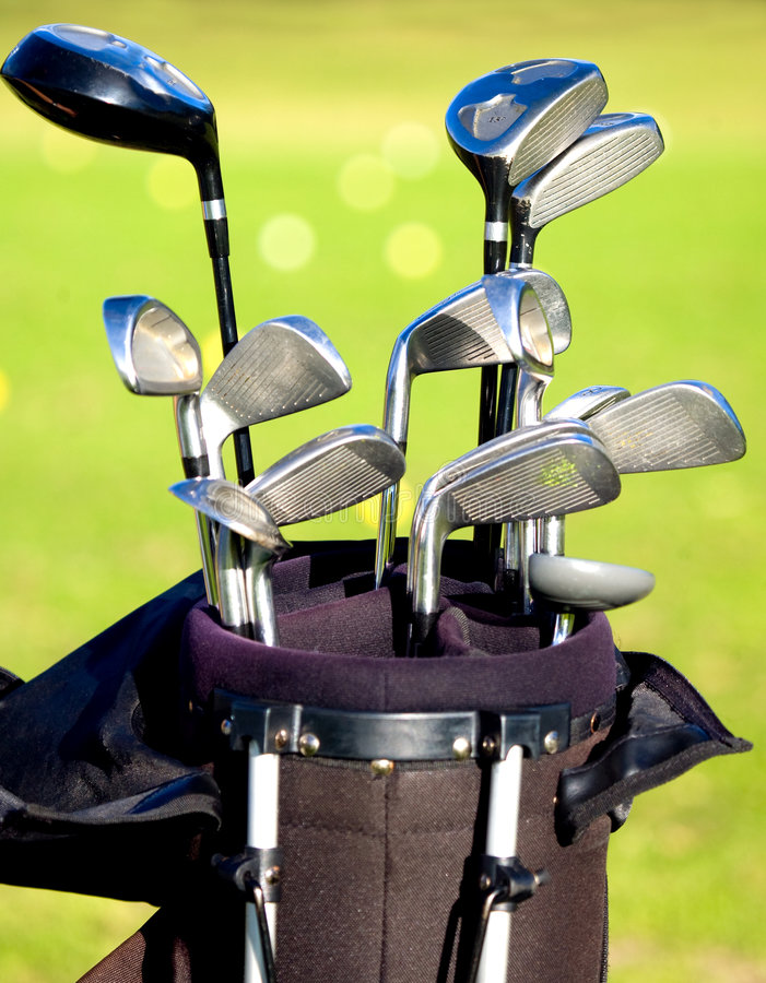 Download Golf clubs in a bag stock photo. Image of silver, landscape - 3315920