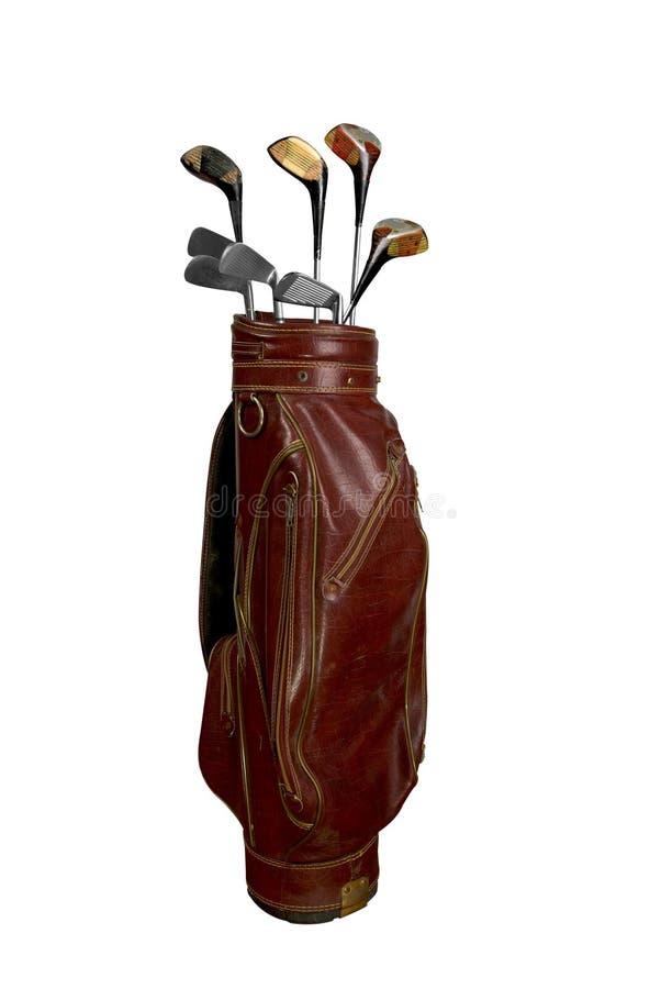 Golf clubs in bag stock photos