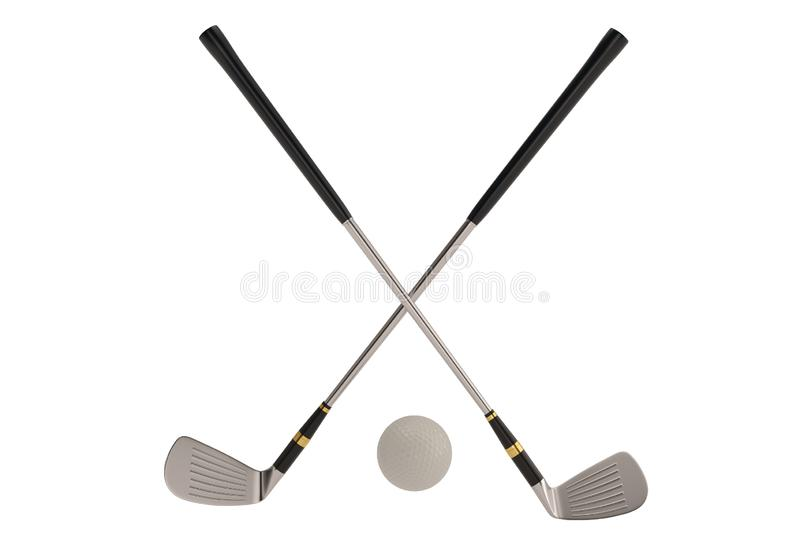 Golf clubs and ball sport symbol isolatedon white background. 3D illustration. vector illustration