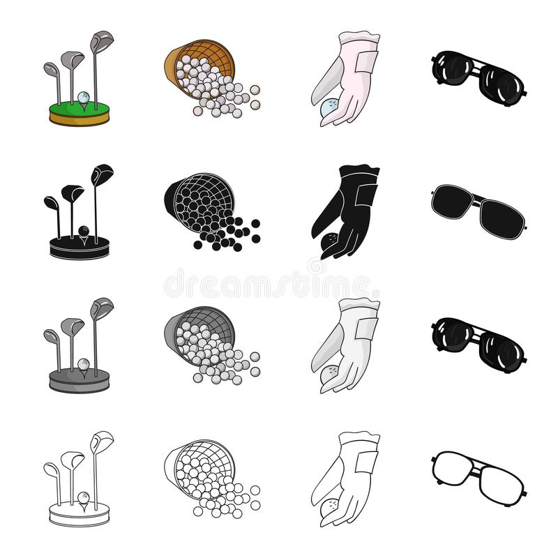 Golf clubs, balls in the basket, golfer glove, sunglasses. Golf set collection icons in cartoon black monochrome outline. Style vector symbol stock illustration vector illustration