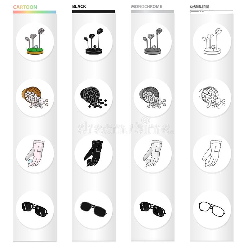 Golf clubs, balls in the basket, golfer glove, sunglasses. Golf set collection icons in cartoon black monochrome outline. Style vector symbol stock illustration stock illustration