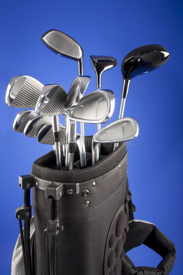 Golf clubs in carrying bag royalty free stock images