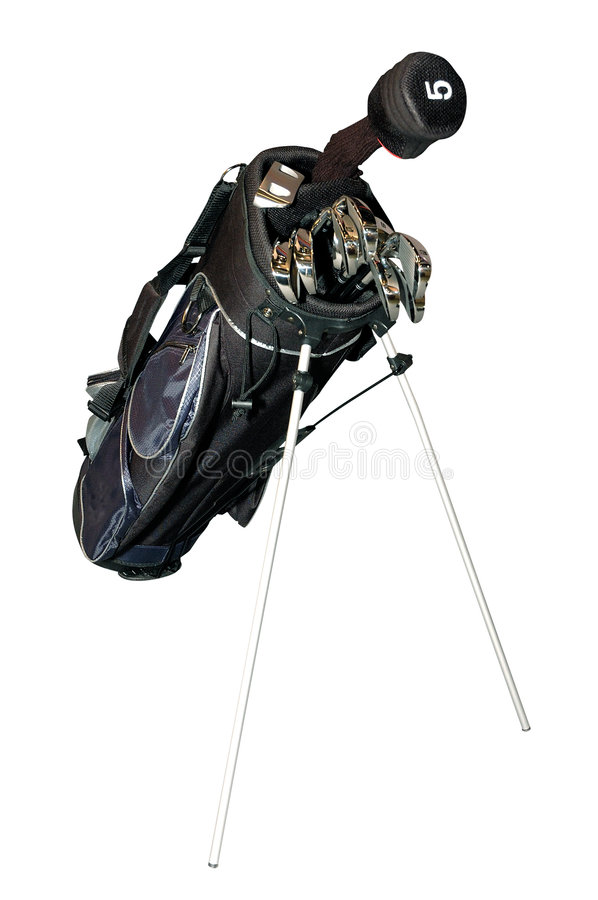 Golf-clubs dans un sac d'isolement photos libres de droits